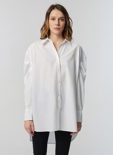 Monamoda Prenses Kol Loose Fit Poplin Gömlek Beyaz